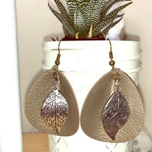 Faux Leather Curved Teardrop Earrings with Leaf